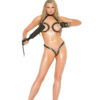 Adjustable leather bra and g-string with open bust - Adjustable leather bra and g-string with open bust and crotch. Set has chain and nail head detailing.