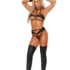 Fishnet Bra with Leather Trim - Fishnet bra top trimmed in leather with back tie closure and matching thong.