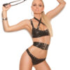 Leather underwire bra with criss cross straps - Leather underwire bra with criss cross straps with buckle detail