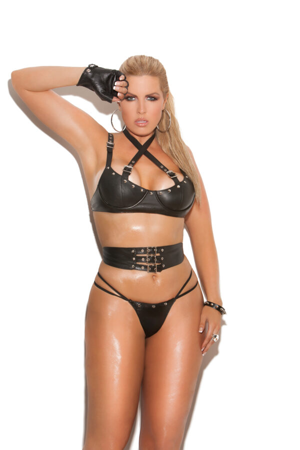 Leather underwire bra with criss cross straps with buckle detail - Leather underwire bra with criss cross straps with buckle detail