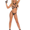 Harness and G-String with Nail Heads - Harness and g-string with square nail heads and O rings.