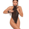 Halter neck fishnet thong - Halter neck fishnet thong back teddy embellished with studs and leather trim.