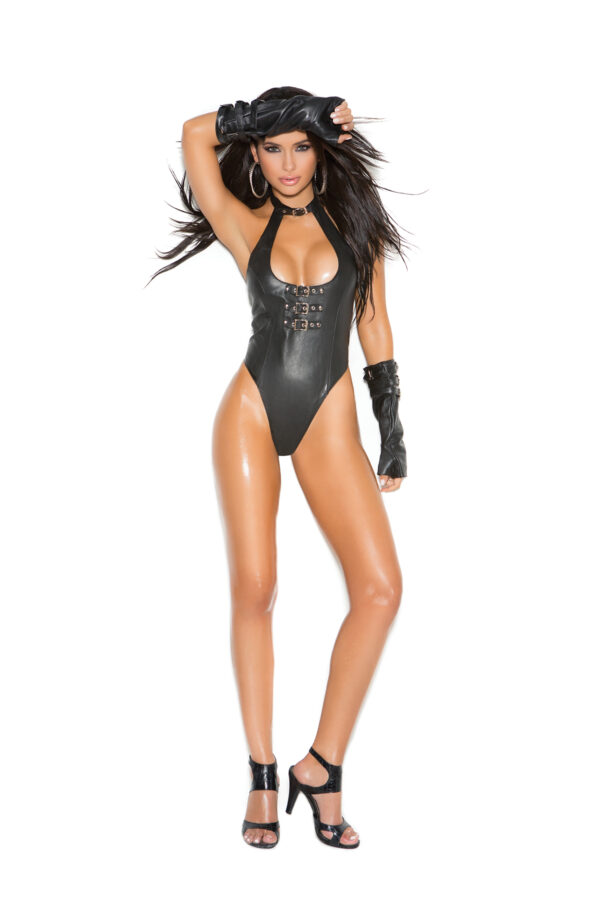 Leather teddy with buckle front - Leather teddy with buckle front detail and thong back.