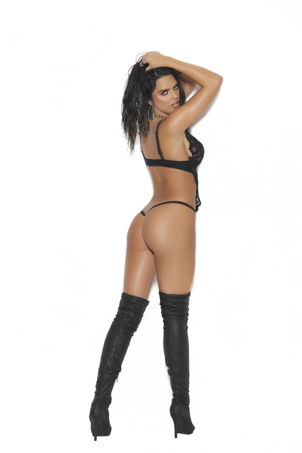 Leather and lace halter neck string teddy.