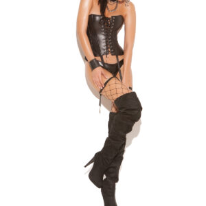 Leather Strapless Corset With Lace Up