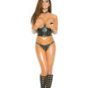 Leather Cupless Top - Leather cupless chain top with nail heads and lyrca zip back closure.