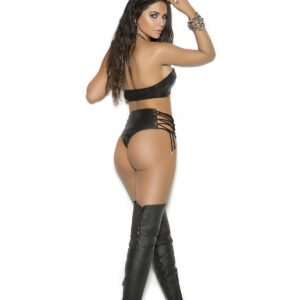 Leather booty shorts with lace up sides.