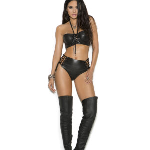 Leather booty shorts with lace up sides - Leather booty shorts with lace up sides.