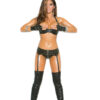Zip Front Leather Garter Belt With Stud Detail
