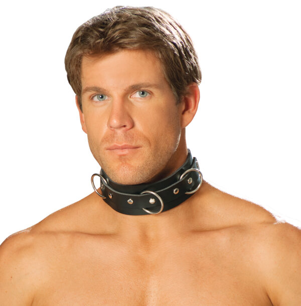 Men's leather collar with O rings and nail heads - Men's leather collar with O rings and nail heads.