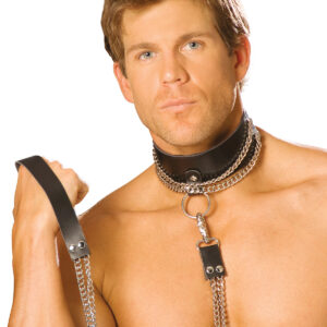 Leather Choker With Chain And Detachable Chain Leash