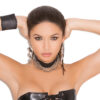 Leather Choker With 3 Chains