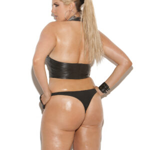 Zip up leather thong.