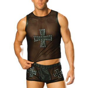 Leather And Mesh Shorts With Cross And Nail Head Detail