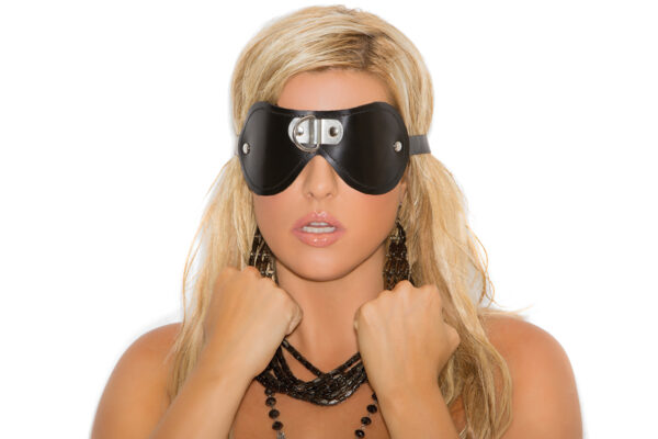 Leather blindfold with D ring detail - Leather blindfold with D ring detail.