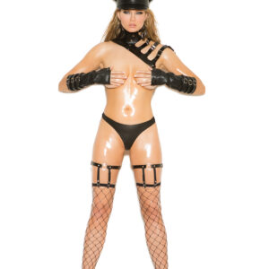 Leather leg garters with D ring detail - Leather leg garters with D ring detail.