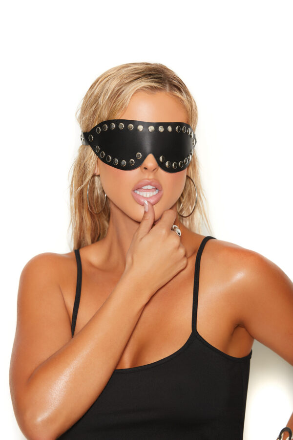 Leather Blindfold With Nail Heads
