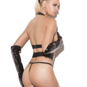 Vinyl cupless top with studs and adjustable hook and eye back closure. Waist cincher has studs and hook and eye front closure. Matching g-string included. *Available Boxed