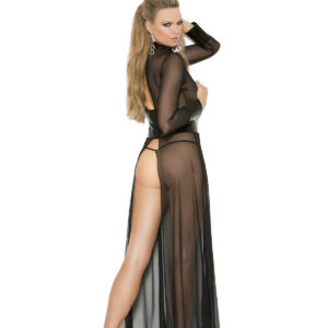 Mesh and vinyl long sleeve gown with adjustable hook and eye back closure. Matching g-string included.