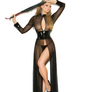 Mesh And Vinyl Long Sleeve Gown With Adjustable Hook