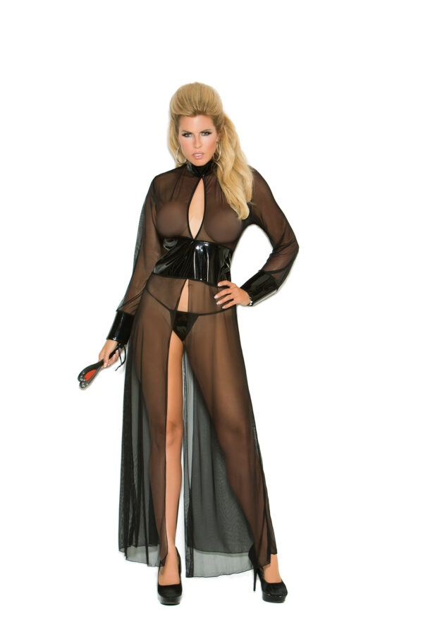 Mesh And Vinyl Long Sleeve Gown With Adjustable Hook Plus Size