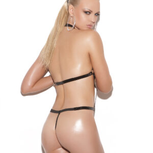 Vinyl thong back strap teddy with O rings.  *Available Boxed