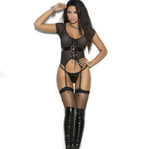 Vinyl And Fishnet Lace Up Camisette With Matching G-String