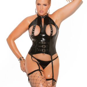 Vinyl Cupless Bustier With Buckle Detai Plus Size