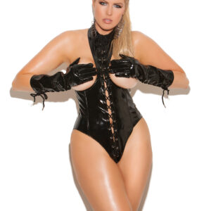 Vinyl Cupless Teddy With Lace Up Front Plus Size