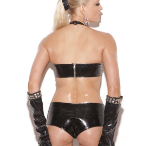 Vinyl zip front booty shorts with square nail heads.