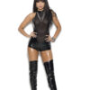 Vinyl And Mesh Romper With Chain Front Detail