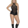 Vinyl And Mesh Romper With Chain Front Detail Plus Size