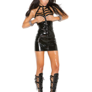 Vinyl Open Bust Mini Dress With Caged Neck And Zipper Back