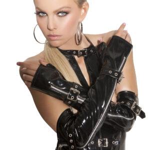 Fingerless Vinyl Gloves With Zipper And Buckle Detail