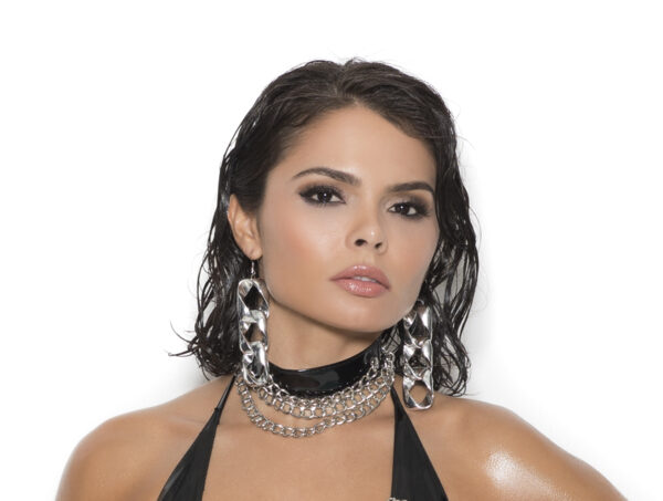 Vinyl Choker With 3 Chains