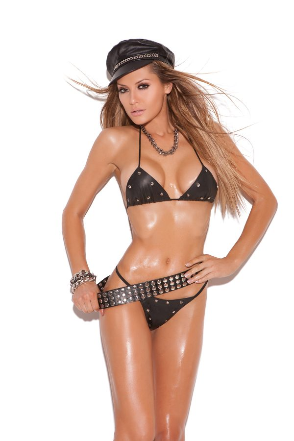 Leather Studded Bra and G-String - Leather studded bra and g-string.